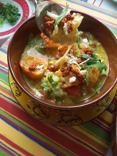 Green Chile and Cheese Soup with Smokey Croutons