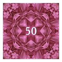 50th Birthday Party Pink Flowers and Bow Invites.  #birthday #party #celebrate #celebration #invite #invitation #envelope #custom #customize #personalize #stamps #stickers