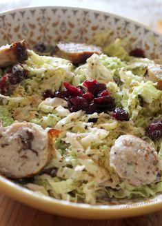 Salade chou et boudin blanc aux canneberges