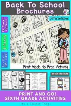 The Back to School Sixth Grade activity for the first week of school will help you learn more about your students while they're engaged in fun, reflective seatwork. 14-cover choices are available for teacher or student preference.  5-interior panels offer creative ways for student to think about their successes and struggles.  For more variety, a bonus brochure for gathering even more information is part of this 2-brochure product.