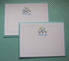 Handmade Baby Card Set of 10 Personalized Custom Boy Baby Shower Gift Thank You Flat Note Greeting Card Blue Plaid Elephant with Matching Border via Etsy