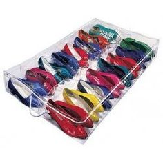 This transparent shoe organizer gives you convenient, under the bed shoe storage! Made from super-strong, vinyl, this underbed shoe rack holds 16 pa. Kids Shoe Organization, Shoe Storage Organiser, Shoe Storage Solutions, Shoe Organizer, Storage Ideas, Organizing Ideas, Organizers, Organizing Life, Cheap Storage