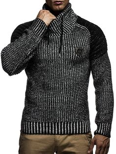 Leif Nelson LN5235 Men's Knitted Sweater Quilted Biker - - Small
