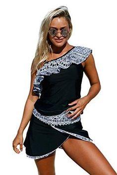 efad3edd89119b Lady Swain Womens Stripes Lined Up Double Up Tankini Top Swimwear Bathing  Suit
