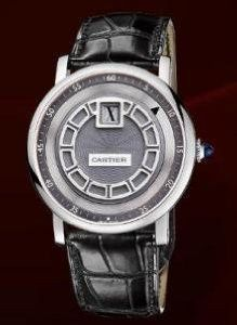 db5f2955487 Cartier Rotonde De Cartier Jumping Hour (WG  Silver  Leather)