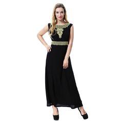 Abaya Dress Muslim Women No Sleeve Arab Maxi Abaya Islamic Clothing Robe Kaftan Embroidery Gold Flower #Islamic clothing Islamic Clothing, Muslim Women, Gold Flowers, Kaftan, Dresses For Work, Embroidery, Sleeves, Clothes, Shopping