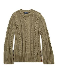 3ab57105feb325 Cable Cotton Dolman Sweater Green Sweater
