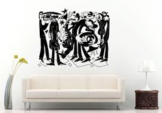 Jazz Sax Saxophone Instrument Tool Band Musical Genre Man Funny Band Wall Decal Vinyl Sticker Mural Room Decor L1153