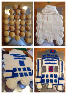 R2D2 Pull-a-part cupcake cake