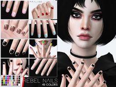 Pralinesims' Rebel Nails N25 Sims 4 Game Mods, Sims Mods, Sims 4 Mods Clothes, Sims 4 Clothing, Sims 4 Cc Skin, Sims Cc, Sims 4 Nails, Cc Nails, Sims 4 Black Hair