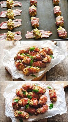 Try these Bacon Wrapped Stuffing Bites for a delicious twist on Thanksgiving dinner. These would also make an amazing snack out of Thanksgiving leftovers! Thanksgiving Appetizers, Thanksgiving Recipes, Holiday Recipes, Thanksgiving Leftovers, Thanksgiving Stuffing, Christmas Recipes, Yummy Appetizers, Appetizer Recipes, Dinner Recipes