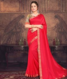 Chanderi Silk Chanderi Silk Saree, Silk Sarees, Red Fabric, How To Dye Fabric, Long Cut, Spring Sale, Blouse Online, Head To Toe, Festival Wear