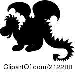 cute silhouettes | Royalty Free RF Clipart Illustration Of A Cute Silhouetted Baby Dragon ...