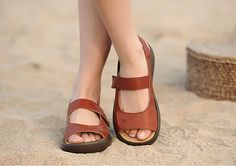 Handmade Women's Shoes Leather Sandals Black Leather by HerHis, $69.00