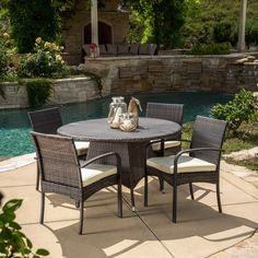 Theodore Outdoor 5-piece Wicker Dining Set with Cushion by Christopher Knight Home (Multi-Brown), Brown, Size 5-Piece Sets, Patio Furniture (Metal)