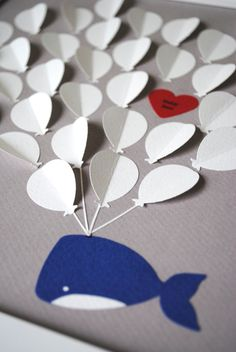 Baby Shower Guest Book Alternative - Balloons and Baby Whale - Maybe do an owl or rhino instead? Love the balloons Cheap Baby Shower, Baby Shower Favors, Baby Shower Themes, Baby Boy Shower, Shower Ideas, Baby Shower Marinero, Baby Dedication, Baby Wedding, Guest Book Alternatives