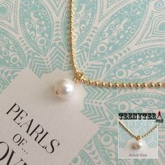 "Potato Pearl with 14K Gold filled 18"" Ball chain. Come on Pearls of Love card."