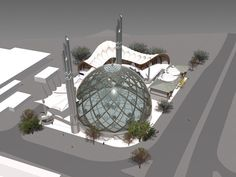 K ln Mosque Architectural Design Competition Project Mosque Architecture, Futuristic Architecture, Architecture Photo, Islamic Center, Temple Design, Beautiful Mosques, Grand Mosque, Street Furniture, Design Competitions