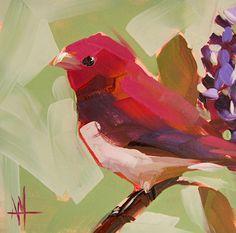 Rose Finch no. 10 original bird oil painting by prattcreekart