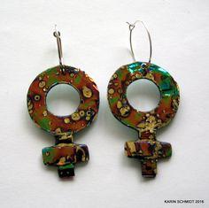Øreringe. Earrings. Friendly plastic. Karin Schmidt, Friendly Plastic, Washer Necklace, Mixed Media, Jewellery, Earrings, Projects, Crafts, Ear Rings