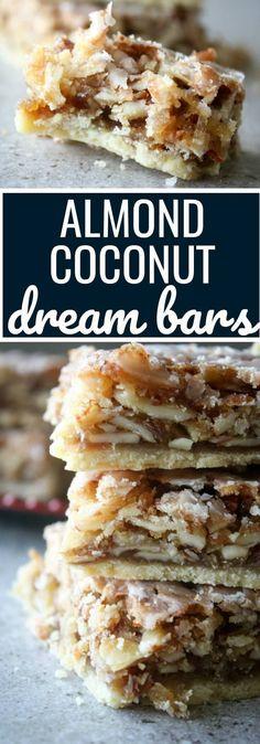 Almond coconut dream bars also known as angel bars dreambars coconutrecipes angelbars toasted coconut pound cake Coconut Pound Cakes, Coconut Desserts, Coconut Recipes, Sweet Desserts, Just Desserts, Delicious Desserts, Dessert Recipes, Cheesecake Recipes, Coconut Squares Recipe