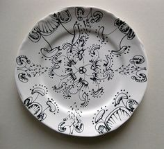 The Owl Serviceporcelain plate by Helena Seget, drawings by Louise Bradley