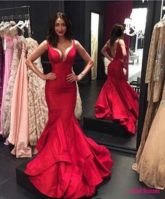 2018 Red Mermaid Prom Dress, Backless Taffeta Formal Gown With Layered Skirt PD20186910
