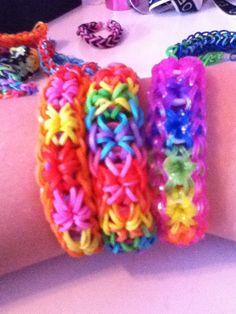 Three starbursts rainbow loom bracelets