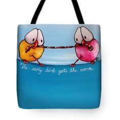 Whimsical Tote Bags by Lucia Stewart - The Early Bird Tote Bag by Lucia Stewart