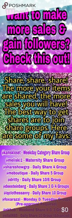 How to Make Sales AND Gain Followers? Yes Please!! I want to spread the posh love and give a shout out to some of my favorite share groups here. Sharing is caring and the more we all share, the more we all sell!  The secret posher game is also an amazing way to get followers fast! Easily increase your followers 200-1500+ a day with only 10 minutes of playing! The first day I played I gained almost 3k followers and now I'm hooked!  🐙 Find my secret posher game in my closet & become a…