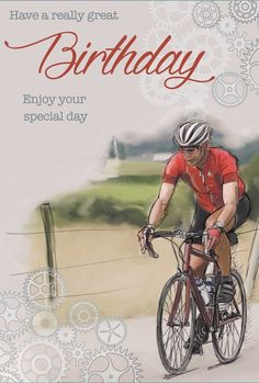 GBP - Open Male Birthday Card - Man Riding Bicycle Through Countryside X & Garden Happy Birthday Bicycle, Happy 25th Birthday, Happy Birthday Images, Man Birthday, Flower Birthday Cards, Birthday Cards For Men, Birthday Messages, Birthday Greetings, Happy Birthday Quotes For Friends