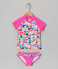 Take a look at this Pink Rainbow Heart Rashguard Set - Toddler & Girls by Candlesticks on #zulily today!