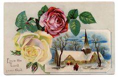 Vintage Winter Clip Art | Vintage Clip Art - Winter Church Scene with Roses - The Graphics Fairy