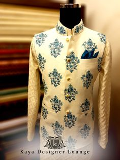 Linen Nehru Jacket with Embroidery Summerspring2017, kayadesignerlounge