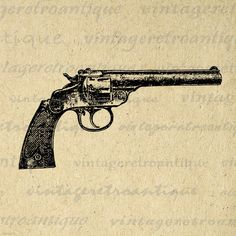 Digital Image Classic Revolver Printable Gun Illustration Graphic Download Vintage Clip Art. High quality digital graphic illustration from vintage artwork for printing, transfers, papercrafts, tea towels, and much more. Great for use on etsy items. This digital graphic is high quality and high resolution at size 8½ x 11 inches. Transparent background PNG version included.