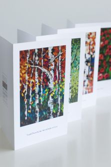 Give the GIFT OF ART this holiday season with unique and beautiful ART GREETING CARDS printed from my original acrylic paintings! Now available for purchase.  MELISSA MCKINNON Contemporary Abstract Landscape Artist features BIG COLOURFUL PAINTINGS of Aspen & Birch Trees, Rocky Mountains and stunning views of the Canadian prairies, big skies and ocean beaches. Western Art.