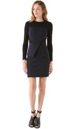 Tibi Ponte Colorblock Dress- love that black with navy