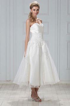 Gorgeous Empire Sweetheart Satin and Organza Tea-Length Wedding Dress WEM05141-TB