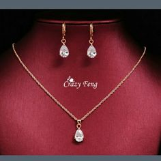 18Kt gold necklace and earrings wedding set New very pretty wedding set 18kt Jewelry Necklaces