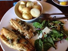 My lunch at the Creek Inn: Pan-fried sea bass fillets, served with new potatoes and salad