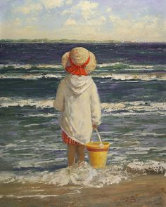 Sally Swatland - Fourth of July, More beautiful beach art! Painting For Kids, Painting & Drawing, Art Plage, Images D'art, Illustrations Vintage, Paintings I Love, Art Themes, Beach Scenes, Beach Art
