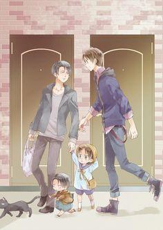 Shingeki no Kyojin - Eren Jager, Levi, children, cat