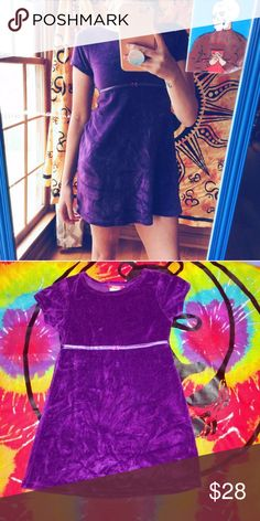 90s vintage purple velvet dress Super cute vintage purple velour dress with satin lining with bow around chest area. great condition. no stains. minimal signs of wear. clean and comes from smoke free home. shoulders measure 12 inches. sleeves are 7 inches. dress is 25 inches long. NO TRADES. Esprit brand. size girls L, can fit adult xs or xxs but someone on the shorter side. i am 5 ft 2 for reference   KEEP IN MIND ITS KID SIZE  #kawaii  #brandymelville #unif #lazyoaf #omighty #dollskill…