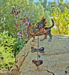 Dachshund Metal Garden Art / Yard Art / Garden Stake / Copper Art / Pet Memorial /  Dog Angel Sculpture / Garden Marker / Pet Lovers Gift by GardenCopperArt on Etsy