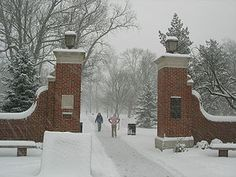 Bishop Gate covered in snow at Miami University in Oxford, OH.  My alma mater!