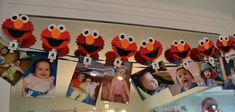 Elmo photo garland for first birthday. A hello world pin and one for each month of baby's first year. Tutorial included.