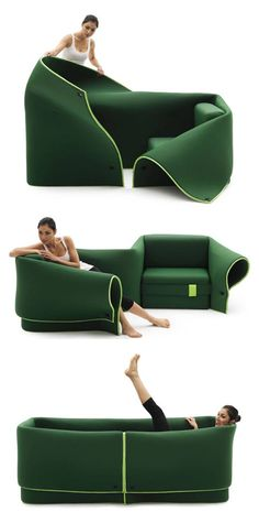 """Wow this sofa-chair-bed is a unique piece of furniture! """"Sosia"""" designed by Emanuelle Magini / Sosia could be 2 chairs, or a sofa or a small sheltered bed, It is a dynamic design adaptable to the needs of everyday life. Nomadic Furniture, Sustainable Furniture, Unique Furniture, Furniture Projects, Furniture Design, Convertible Furniture, Dynamic Design, Interior Decorating, Interior Design"""