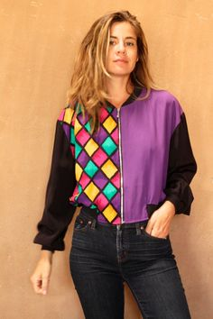 VERSACE style 90s silky COLOR block vintage SLOUCHY by ZiaVintage