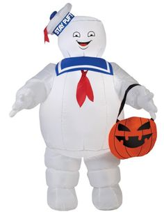 Gemmy Airblown Inflatable Stay Puff with Pumpkin Tote/Ghostbusters - 3.5' Tall, Halloween Decoration