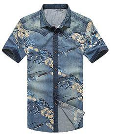 Abetteric Mens Slim Fit Floral Print Summer Short-Sleeve Denim Shirt